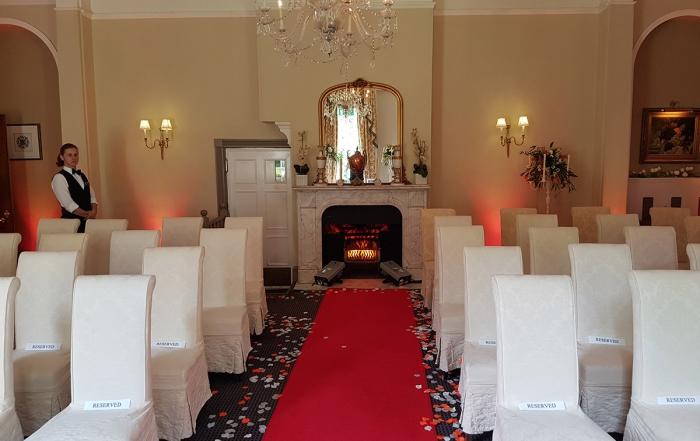 Woodlands Manor - Civil Ceremony Mood Lighting & Fire Projectors
