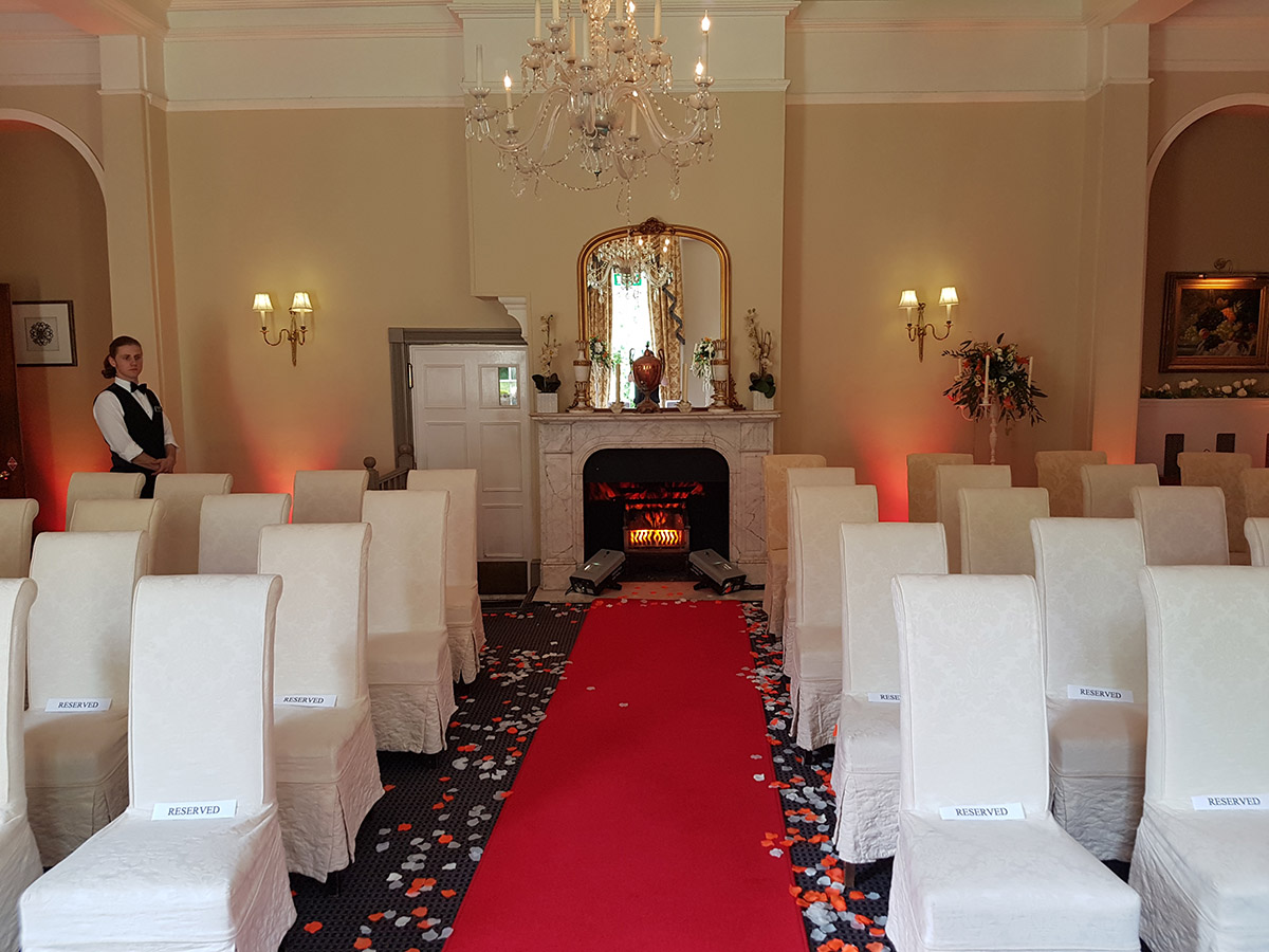 Woodlands Manor - Civil Ceremony Mood Lighting & Fire Projectors